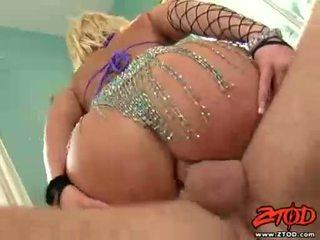 Breasty blond georgia peach gets asspounded en gets een rommelig cumshot