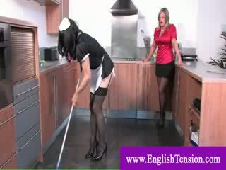 Tv maid worships dominas feet