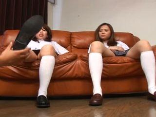 Porner Premium: Two asian foot fetish school girl tease a cock