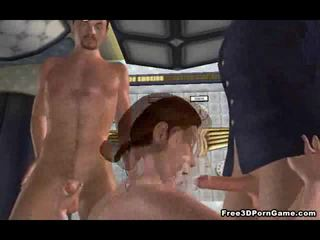 Sexy 3D stewardess babe getting double teamed