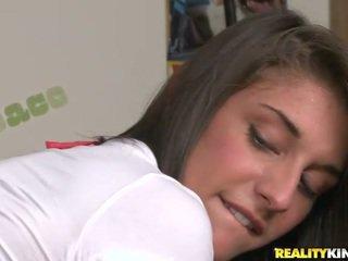 Longhaired schoolgirl Mischa Brooks get a dick