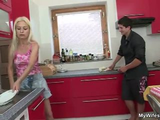 Mother in law fucked by big dick in kitchen