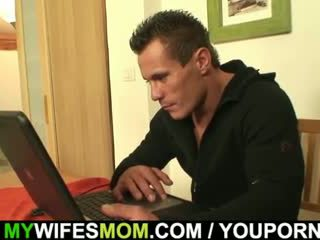 He fucks old mom-in-law right on the table