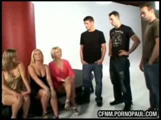 CFNM babes blowjob and fuck two cocks