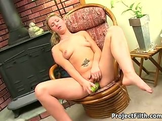 Horny girls playing with vegetables