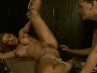Mistress punishing and fisting busty slavegirl