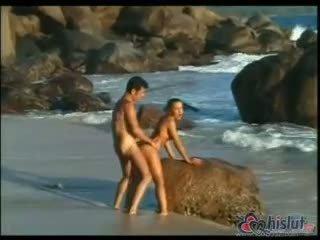 doggystyle, cum, più spiaggia nuovo