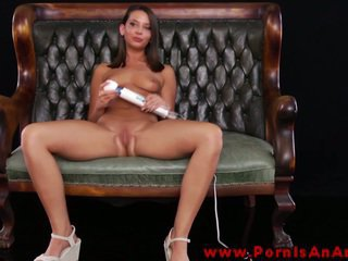 Ebony Haired Miss Teases Near Toy