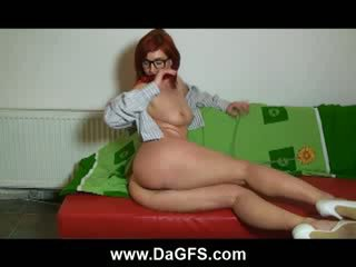 Horny Red head toying on the couch