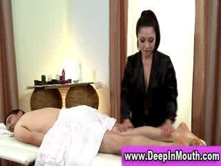 Big tits asian masseuse sucks
