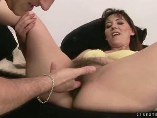 Hairy mature brunette getting fucked pretty hard