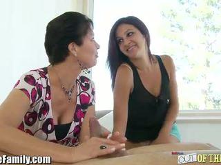 Horny momma teaching teen to suck cock