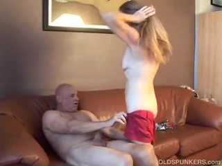 Hot babe gets the old cock deep in her pussy