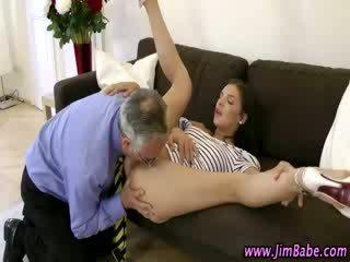 Classy older guy watches babe babe fingering