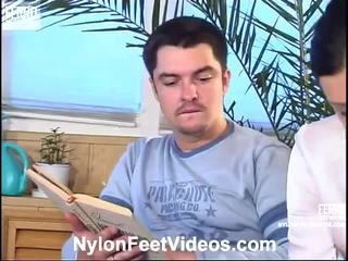 Laura And Adam Wicked Pantyhose Feet Action