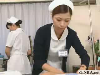 Jap perawat practices her hand job technique