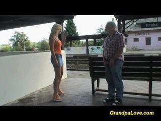 Busty blonde fucked near the railway