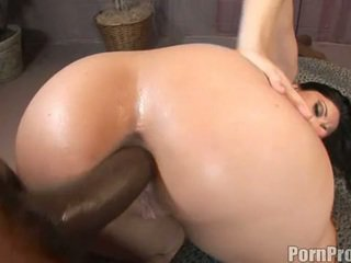 Luscious Lopez gets pinned on her tight ass by a big black dong