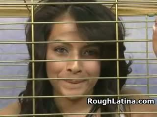 Latina Slut In A Collar Face Fucked Through Cage