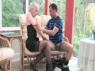Blond mature gets her Juggs teased