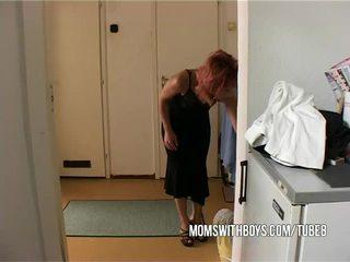 Stepmom helps young boy getting hard