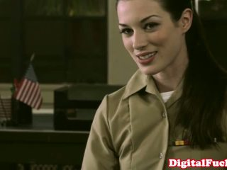 Petite military babe Stoya office demands oral from