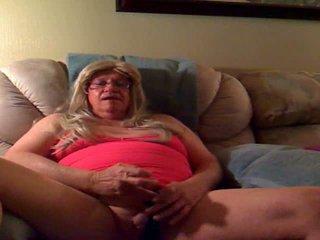 Fat Masturbating Crossdresser Eats Own Spunk