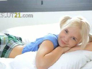 19yo blondie teasing and stripping