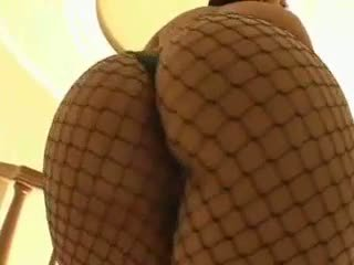 Latin big ass babe in fishnet pussy drilled hard, ass covered with cum