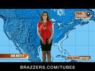 Bigboobed horny weather girl Eva Notty fucks her news producer