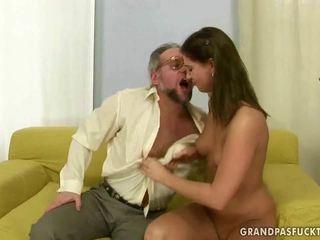 real brunette channel, blowjob thumbnail, real grandpa