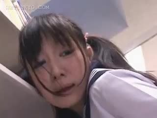 Asian Schoolgirl Pussy Teased In The Library On Camera