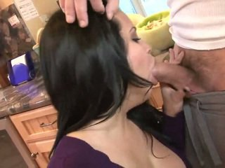 Hot mature lady sucking big meat on the kitchen