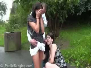 Risky Public Sex Pregnant Two Girl Threesome. AWESOME!