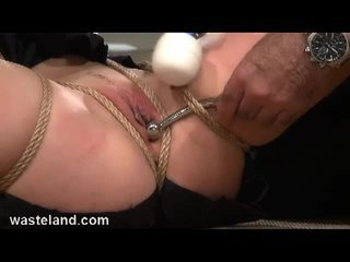 Brunette slave bounded and toyed