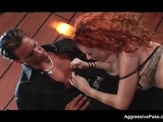 Redheaded porn slut Audrey Hollander double penetrated