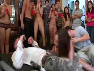 Jada Stevens enjoying two student cocks at college party