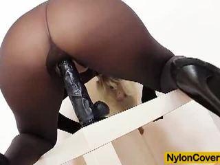 Nylon Covered: Nylon bitch bella morgan toying in pantyhose