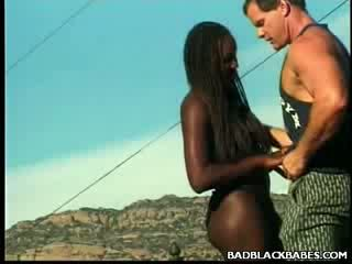Outdoors ebony Banging