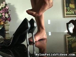 controleren voet fetish, vol sexy benen film, vol panty vid