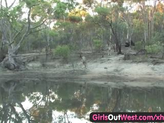 Hairy Australian girl masturbating with a dildo
