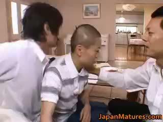 nominale brunette vid, nominale japanse klem, groepsseks