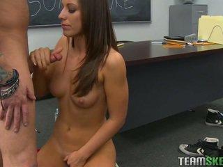 echt brunette, groot coed, college meisje neuken