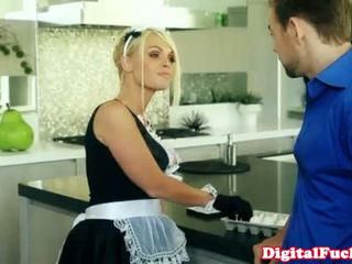 Blonde French Maid Drooling On His Cock
