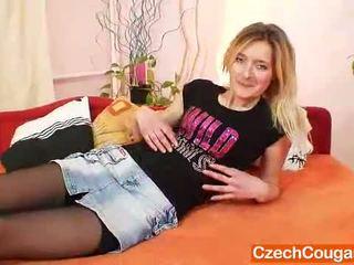 Impressive Blonde MILF In Stockings Playthings Her Furry Cunt
