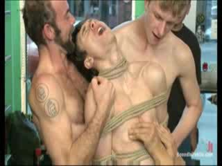 Cutie tied up guy gets Gang bang fucked