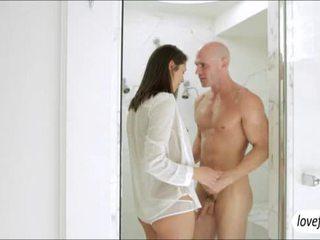 Seductive brunette hottie Anastasia Morna steamy sex under the shower
