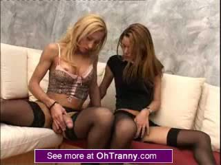2 perfect Big dick tgirl tgirls jerk each other off