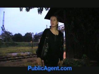 Blonde ado fucks public agent