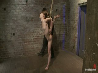 Petite Hairless Beauty Bound Tightly, And Made To Cum While In Tip Toe Suspension